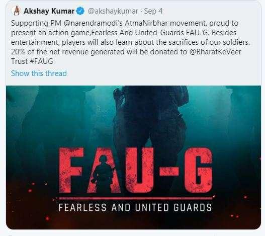 Faug game download apk akshay kumar tweet